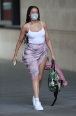 Yasmin Evans Leaving the BBC Broadcasting House while flashing a lot of flesh in London