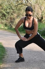 Yazmin Oukhellou Gets Her Morning Workout In By Doing Some Stretching In A Local Park Near Her House In Essex