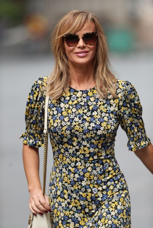Amanda Holden Flaunts a floral miniskirt while leaving the Heart Radio Studios in London