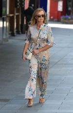 Amanda Holden Pictured leaving the Global Radio studios in ankle length floral jumpsuit