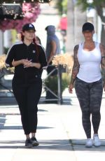 Amber Rose Takes a walk with a friend and personal trainer in Studio City