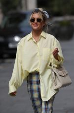 Ashley Roberts Leaving the Global studios after her Heart Radio show in gingham pants and bright shirt in London