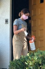Ashley Tisdale Taking all precautions as she is seen disinfecting her groceries before bringing them into her house in Los Feliz