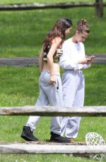 Bella Hadid Out for a walk with a friend in New Hope, Pennsylvania