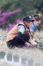 Bella Hadid Planting herbs with her mom at a local family estate in New Hope, Pennsylvania