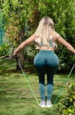 Bianca Gascoigne Working Out at a Park in Gravesend
