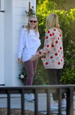 Dakota & Elle Fanning Stop by their new house to check on the remodeling progress with their mom in Los Angeles