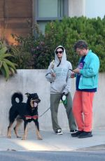 Emily Ratajkowski Visits the beach with her husband to walk their dog Columbo in Venice