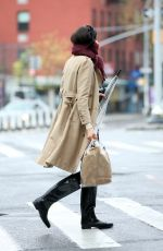 Famke Janssen Wears her scarf as a mask while returning home from grocery shopping in New York