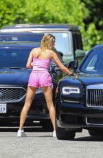Hailey Bieber In Pink top and shorts out in Beverly Hills