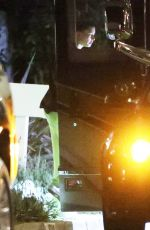 Hailey Bieber & Justin Bieber Coming out of their tour bus outside their home in Beverly Hills