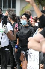 Halsey Out protesting with the large crowds in West Hollywood