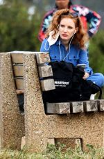 Jessica Chastain Finds a little place for herself as she takes a seat on a bench overlooking the ocean in Pacific Palisades