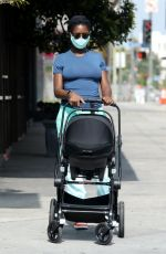 Jodi Turner-Smith Out for a family walk in Los Angeles