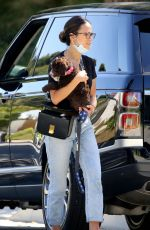 Jordana Brewster Carries Her Cute Pup as She Steps Out in Los Angeles
