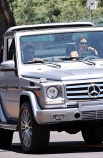 Kendall Jenner Leaves Van Nyus Airport with Devin Booker in her G-Wagon, Los Angeles