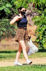 Lucy Hale Brought her two dogs to meet a friend at a park in Studio City