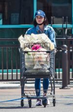 Lucy Hale Goes grocery shopping in jeans jacket and skintight leggings in Los Angeles