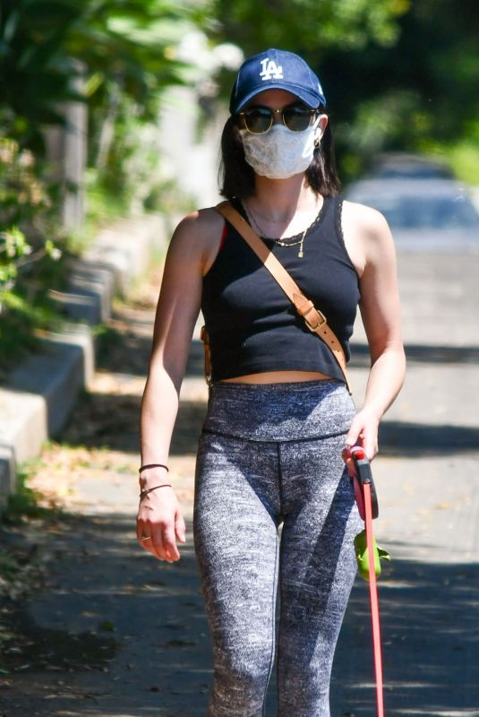 Lucy Hale Out walking her dog Elvis in Studio City