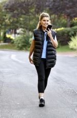 Maria Shriver Displays a range of facial expressions during a vigorous walk in Brentwood