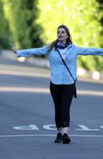 Maria Shriver Working out as she walks around her neighborhood in Pacific Palisades