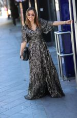 Myleene Klass Pictured arriving at the Global studios in flowing gold metallic dress