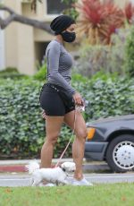 Nicole Murphy Keeps a 6ft distance or more from her mother Ellen Mitchell as they go for a walk with their dogs in Santa Monica