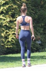 Nina Agdal Spotted out jogging while quarantining in the Hampton