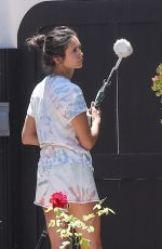 Nina Dobrev Doing some touch up painting on her house in West Hollywood