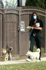 Sara Sampaio Steps out to walk two of her dogs near her home in Los Angeles
