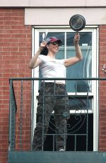 Sarah Silverman Seen on the balcony of her apartment in New York City