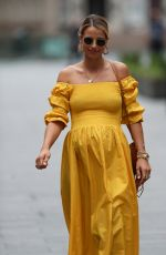 Vogue Williams Leaving Heart Radio breakfast show in Beach Flamingo yellow dress in London