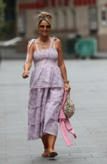 Vogue Williams Wears floral tiered dress while she leaves the Heart Radio Studios in London