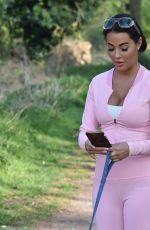Yazmin Oukhellou Walking her dogs in Essex