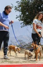 Alicia Silverstone Walks her dogs with a friend on a hot day in Los Angeles