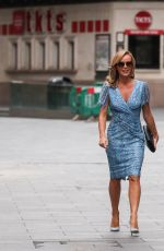 Amanda Holden Leaves Heart Radio after the breakfast show wearing a blue sun dress in London