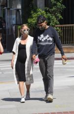 Ashlee Simpson Leaving a restaurant with her husband Evan Ross and son Bronx Wentz in Sherman Oaks