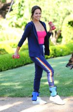 Brooke Burke Power walking in her front yard in Malibu