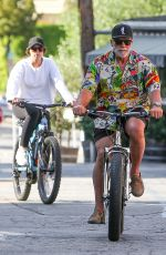 Christina Schwarzenegger Enjoys a bike ride with father Arnold in Brentwood