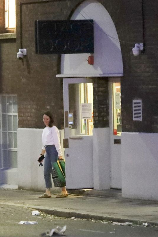 Claire Foy Leaving the Old Vic Theatre after a live performance viewed by an online, London