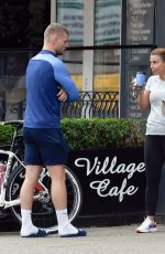 Coleen Rooney Pictured chatting outside Cafe Nero in Cheshire