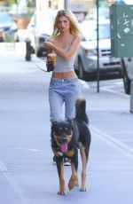 Emily Ratajkowski In Tank top and jeans out with Colombo in NYC