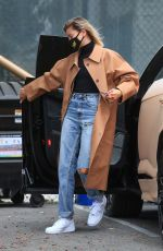 Hailey Bieber Arrives at a studio in Studio City, California