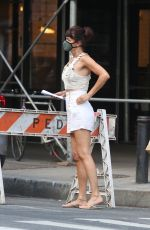 Helena Christensen Outside a FedEx store in NYC