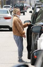 Hilary Duff Pictured wearing a face mask as she heads home in Los Angeles