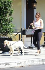 Hunter King Out for a walk with her dog in Los Angeles