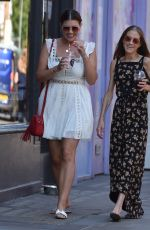 Imogen Thomas and Nikki Graham as they enjoy a drink together at Callooh Calley bar in Londons