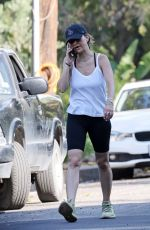 Jennifer Meyer Chats on her phone while out for an evening walk in Pacific Palisades