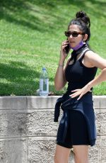 Jessica Gomes Sports a Barbra Streisand graphic sweater from Coach after sweaty hike in Los Angeles