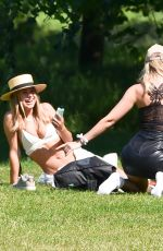 Kimberley Garner Drinking Champagne with her friends in Hyde Park in London